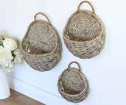set 3 wicker wall baskets antique grey