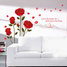 Shop Home Decor Red Rose Wall Decal Mural Removable Flowers Wall Stickers Vinyl Art Wall Vinyl Overstock 17998789