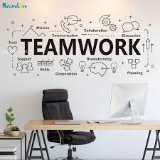Large Teamwork Word Sign Office Wall Decals Cooperation Plan Inspirational Quote Vinyl Removable Sticker Art Decor Yt2597 Wall Stickers Aliexpress