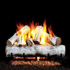 white birch vented gas log set