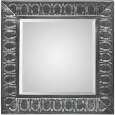 square wall mirror w embossed black