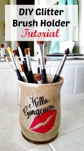glitter brush holder diy tutorial