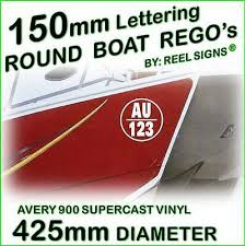 150mm Round Boat Rego Decal Sticker Kit Custom Cast Vinyl Registration Numbers Ebay