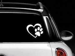Decalgeek Heart With Dog Paw Puppy Love Vinyl Decal Window Sticker For Cars Trucks Windows Walls Laptops 4 White