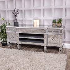silver television stand tv unit