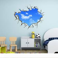 Landscape Blue Sky White Cloud 3d Wall Sticker Creative Home Decal For House Living Room Roof Sticker Wall Decal Decorative Wall Transfers Design Wall Decals From Ghk418418 20 09 Dhgate Com