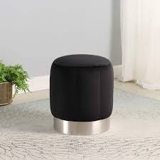 Strange Dna Isabella Ottoman Polyester Fabric With Stainless Steel Base Stool Round Cushion Padded Modern Footstool Rest Furniture For Living Room Bedroom Entryway Or Hallway Bella Black Walmart Com Walmart Com