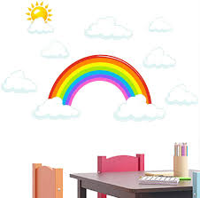 Amazon Com Rainbow And Clouds Wall Decals Peel And Stick Removable Wall Stickers For Kids Nursery Bedroom Living Room Wall Decor 23 6 X25inch Arts Crafts Sewing