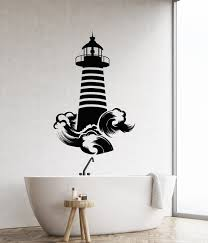 Vinyl Wall Decal Lighthouse Sea Ocean Waves Marine Style Nautical For Wallstickers4you