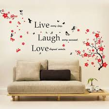 Shop Walplus Wall Sticker Wall Decal Blossom Flower Live Laugh Love Quote On Sale Overstock 32007185
