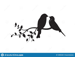 Birds On Branch Wall Decals Couple Of Birds In Love Birds Silhouette On Branch Isolated On White Ba Stock Vector Illustration Of Tree Natural 139552925
