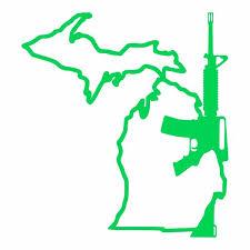 Michigan Gun Ar 15 Vinyl Car Decal Michigan Decals Michigan Apparel Michigan Clothing