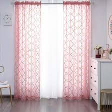 Yj Yanjun Pink Sheer Curtains 63 Inch Length Rod Pocket Voile Drapes With Moroccan Gold Foil Print For Kids Room Short Window Drapes For