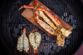 Planked King Crab Legs and Grilled ...