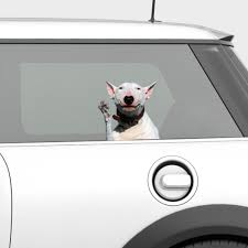 Awesome Waving Bull Terrier Window Decal Madefreshtees