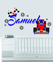 Custom Name Transportation Theme F1 Racecar Baby Boy Girl Wall Decal Nursery For Home Bedroom Children 559 Wide 40 X 23 Height Baby B06w2m5dcz