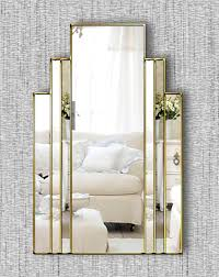 art deco wall mirror with gold trim