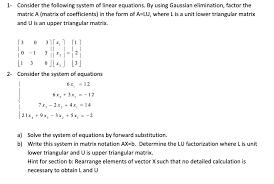linear equations using gaussian