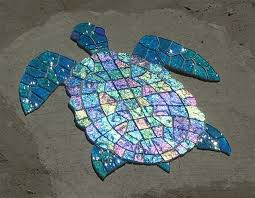 glass mosaic sea turtles with images