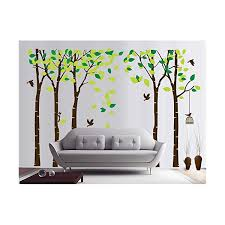 Mafent Large Family Tree Wall Decals 5 Sets Birch Tree Wall Decals Birds Birdcage Wall Stickers Vinyl Wall Art Mural Kids Baby Nursery Room Decoration Black Green Wall Stickers Murals