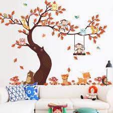 Children S Room Wall Sticker Decorating Cartoon Owl Maple Leaf Tree Monkey Sale Price Reviews Gearbest