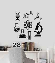 Vinyl Wall Decal Laboratory Atom Microscope Science School Study Room Wallstickers4you