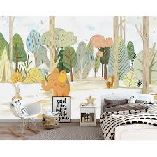 Children S Room Wall Paper Cartoon Forest Animal Photo Wallpaper Mural Stickers Kids Bedroom Self Adhesive Vinyl Silk Wallpaper Background Wallpaper Wall Paperbedroom Wall Paper Aliexpress