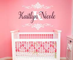 Girl S Name Damask Design Vinyl Wall Decal Monogram Personalized Custom R Nursery Baby Large Options 39 Colors