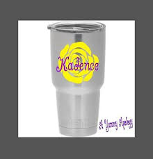 Rose Flower Decal Vinyl Monogram Personalized With Name For Your Cup Tumbler 4 Ebay