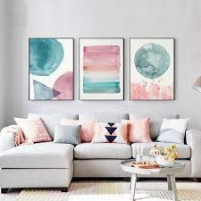 Abstract Nordic Watercolor Posters Pink And Blue Wall Art Canvas Print Nordicwallart Com