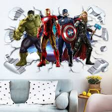 Hot Deal A26722 Kids Room 3d Superhero Wall Stickers Home Decor Self Adhesive Cartoon Anime Wall Decals For Children Boy Bedroom Cicig Co
