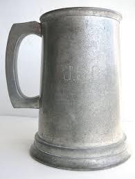 vintage pewter beer stein glass bottom