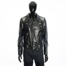 black leather biker jacket w