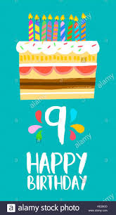 Feliz Cumpleanos Numero 9 Tarjeta De Felicitacion Para Nueve Anos