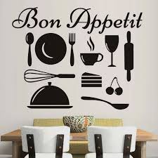 Modern Design Removable Happy Kitchen Tools Wall Sticker Bon Appetit Wall Art Quote Vinyl Decal Home Decoration Accessories Bon Appetit Wall Art Quotesdesigner Wall Stickers Aliexpress
