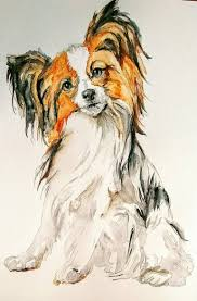 Papillon puppy dog portrait Painting by Daniela Vasileva