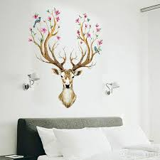 Hot Sale Colorful Sika Deer Head Antlers Wall Stickers Mural Art For Room Decor Antlers Bedroom Living Room Stickers Wall Decoration Stickers Wallpaper From Kity12 3 52 Dhgate Com