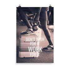 Don T Wish For It Work For It Gym Motivation Poster Fitness Inspiration Wall Art Ebay