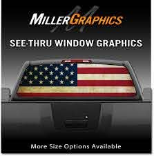 American Flag Distressed Vintage Rear Window Decal Graphic For Truck Suv Ebay