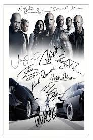 furious 8 cast x10 signed photo print