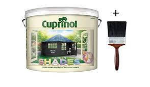 New 2018 Cuprinol Garden Shades Black Ash 9 Litre With 4 Application Brush Ideal For Garden Furniture Fence Shed Building And Structures Paint Amazon Co Uk Diy Tools