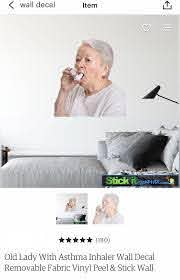 Old Lady W Asthma Wall Decal Wall Decals Old Women Olds