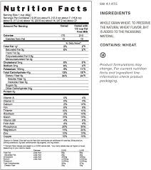 shredded wheat cereal nutrition label