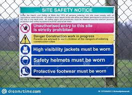 Building Site Construction Safety Notice Sign On Fence Stock Photo Image Of Protectors Accidents 137346494