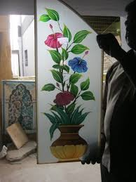 flower glass painting designs