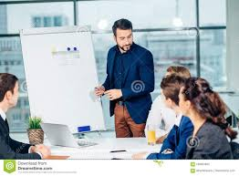 Director Of Company Having Business Meeting With His Staff Stock ...