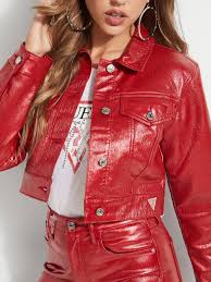 guess coated look denim jacket your