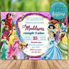 Invitacion De Cumpleanos De Princesa Disney Imprimir En Casa