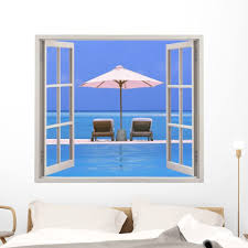 Amazon Com Wallmonkeys Open Window With Beach Wall Decal Peel And Stick Graphic 72 In H X 47 In W Wm100137 Furniture Decor