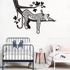 Cartoon Leopard Safari Tree Wall Decal Nursery Forest Jungle Leopard Animal Branch Bird Wall Sticker Bedroom Playroom Viny Lw232 Wall Stickers Aliexpress